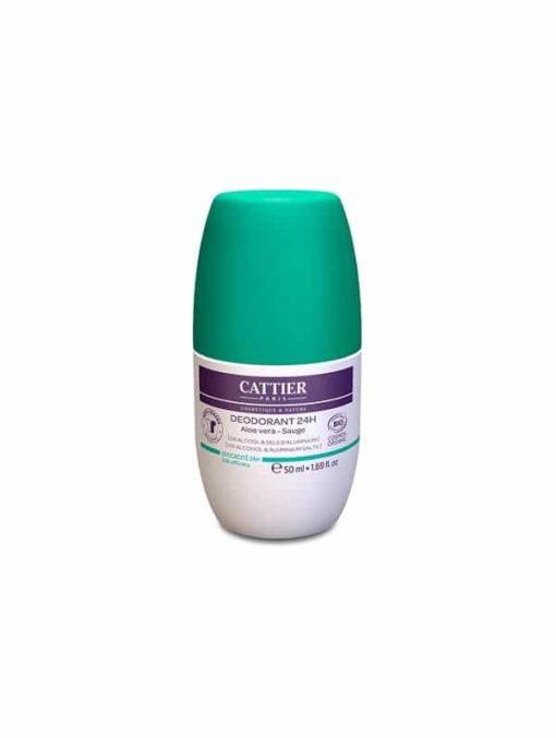 Cattier Desodorante Roll-On 24 Horas con Aloe Vera y Salvia